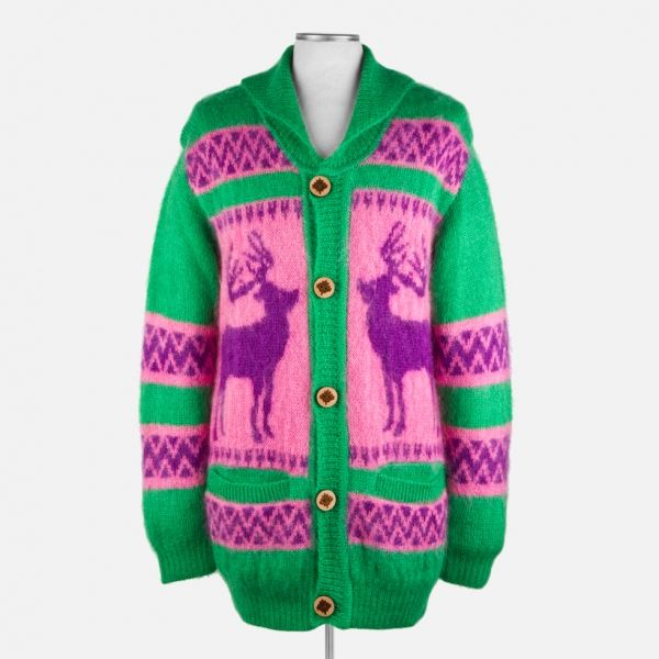 GANRYU COMME DES GARÇONS  Green And Pink Mohair Cardigan