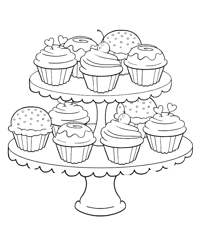 Birthday Cupcake Steady And Delicious Coloring Page - Birthday ...