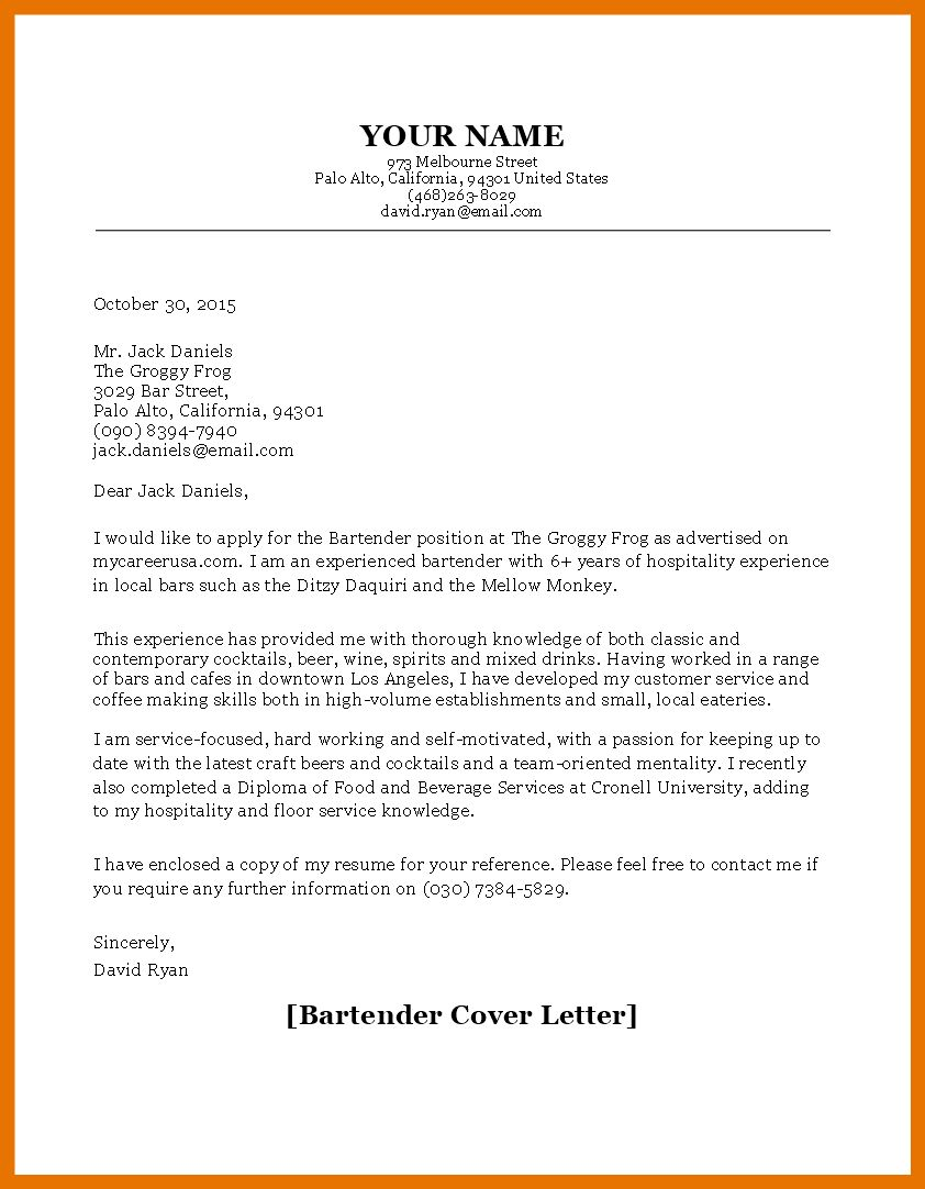 27+ Bartender Cover Letter in 2020 Resume cover letter