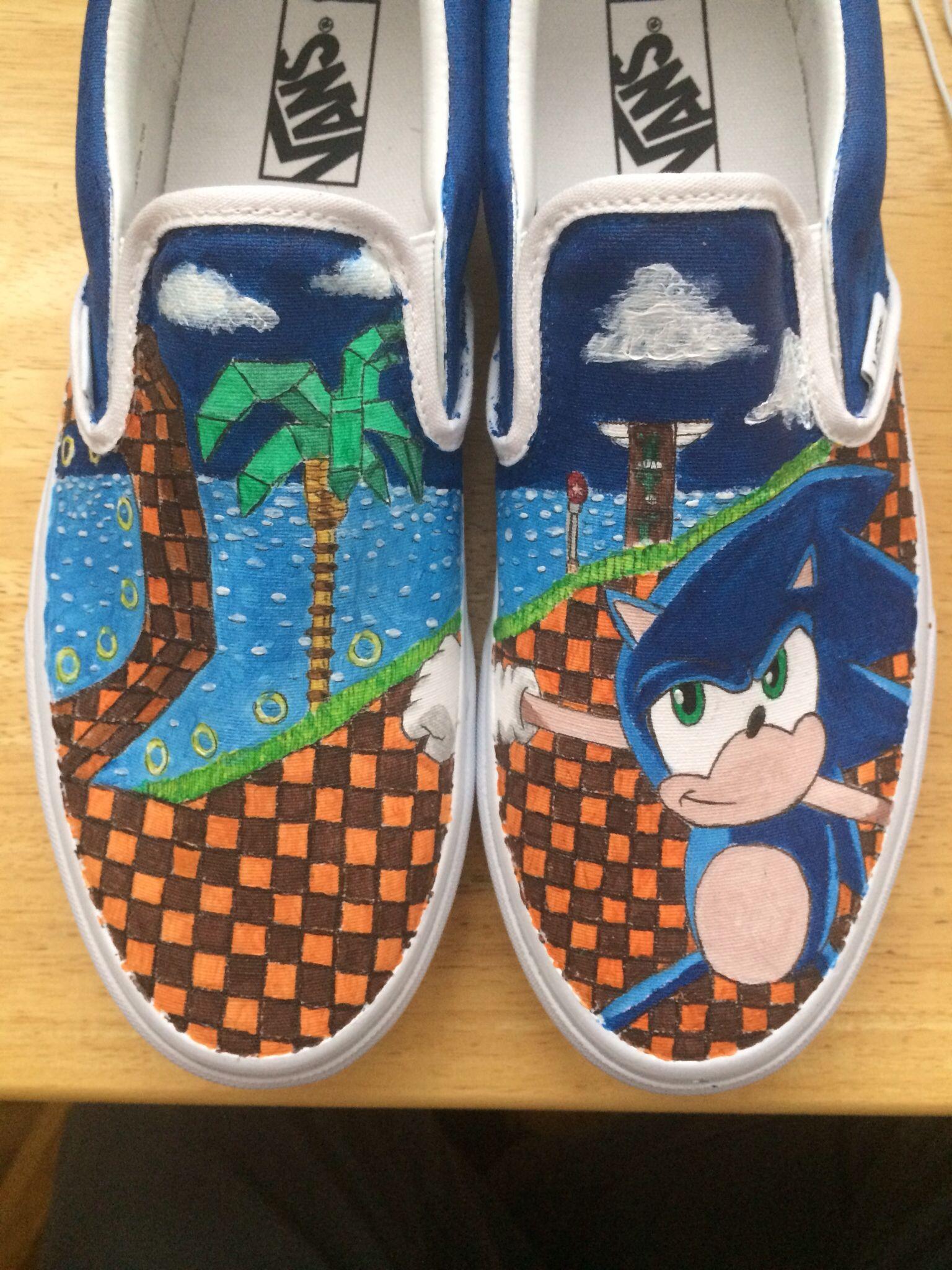 Sonic The Hedgehog Custom Painted On Vans Done By Me Custom Painted Shoes Painted Shoes Vans Classic Slip On Sneaker