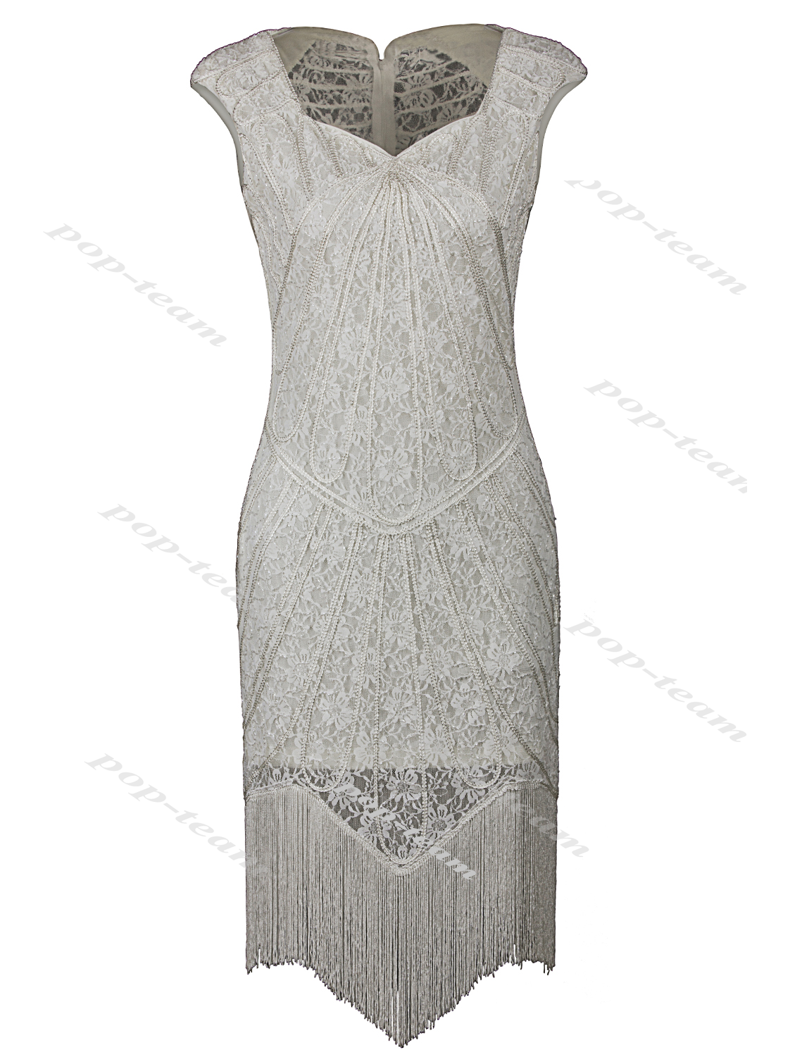 Lace 1920s Embellished Beaded Flapper Gatsby Party Charleston ...