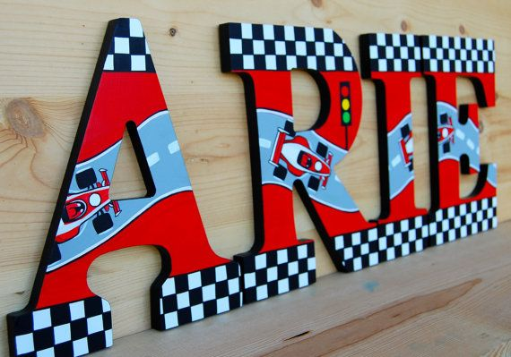 Race Car theme Hand Painted Wooden Letters Price is Per Letter