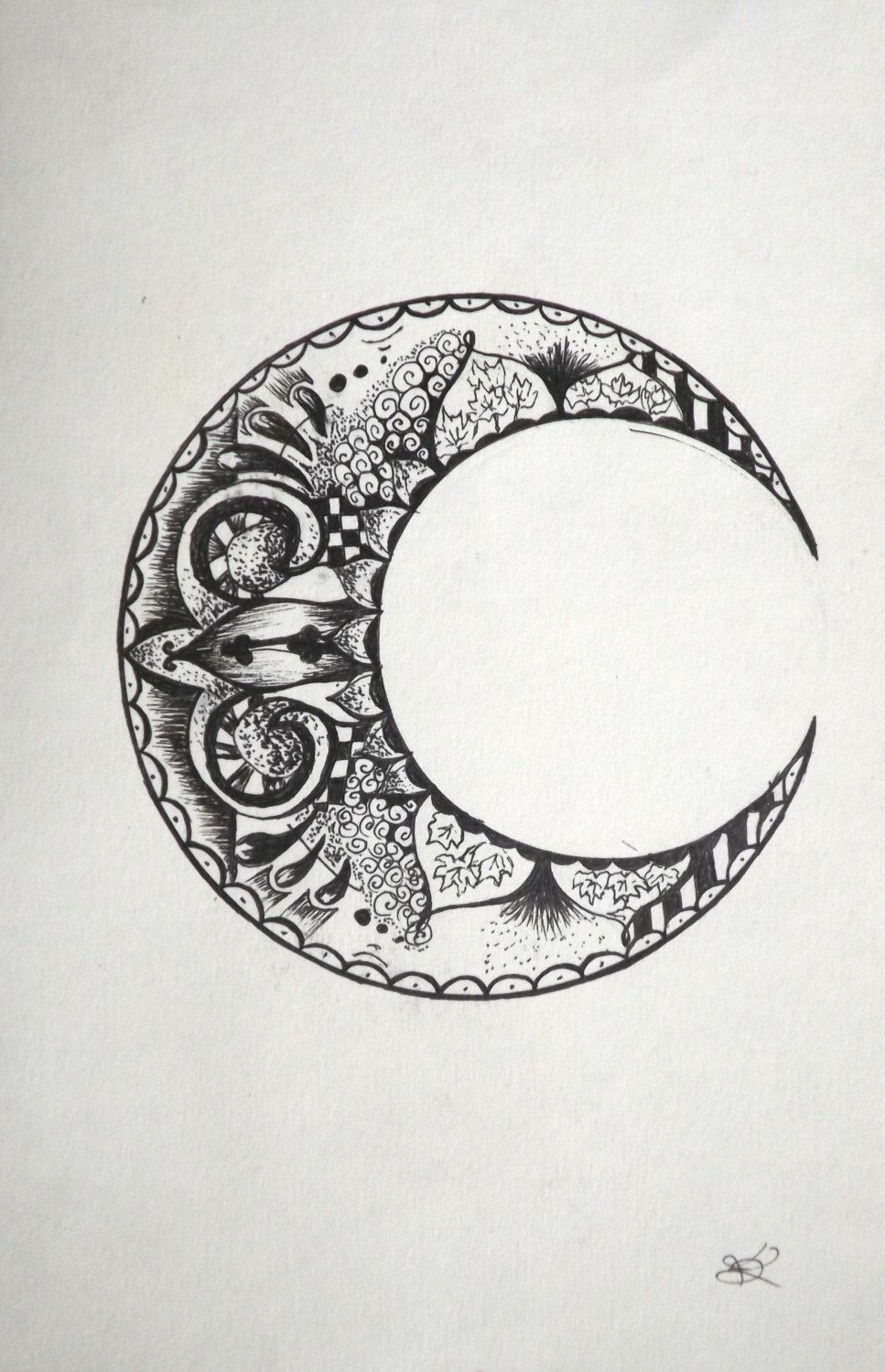 pretty moon drawing - 736×1141
