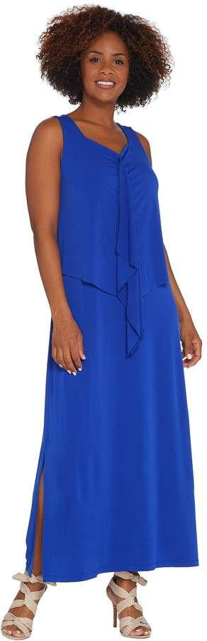 Susan Graver Petite Liquid Knit Tiered Maxi Dress In 2018 Products