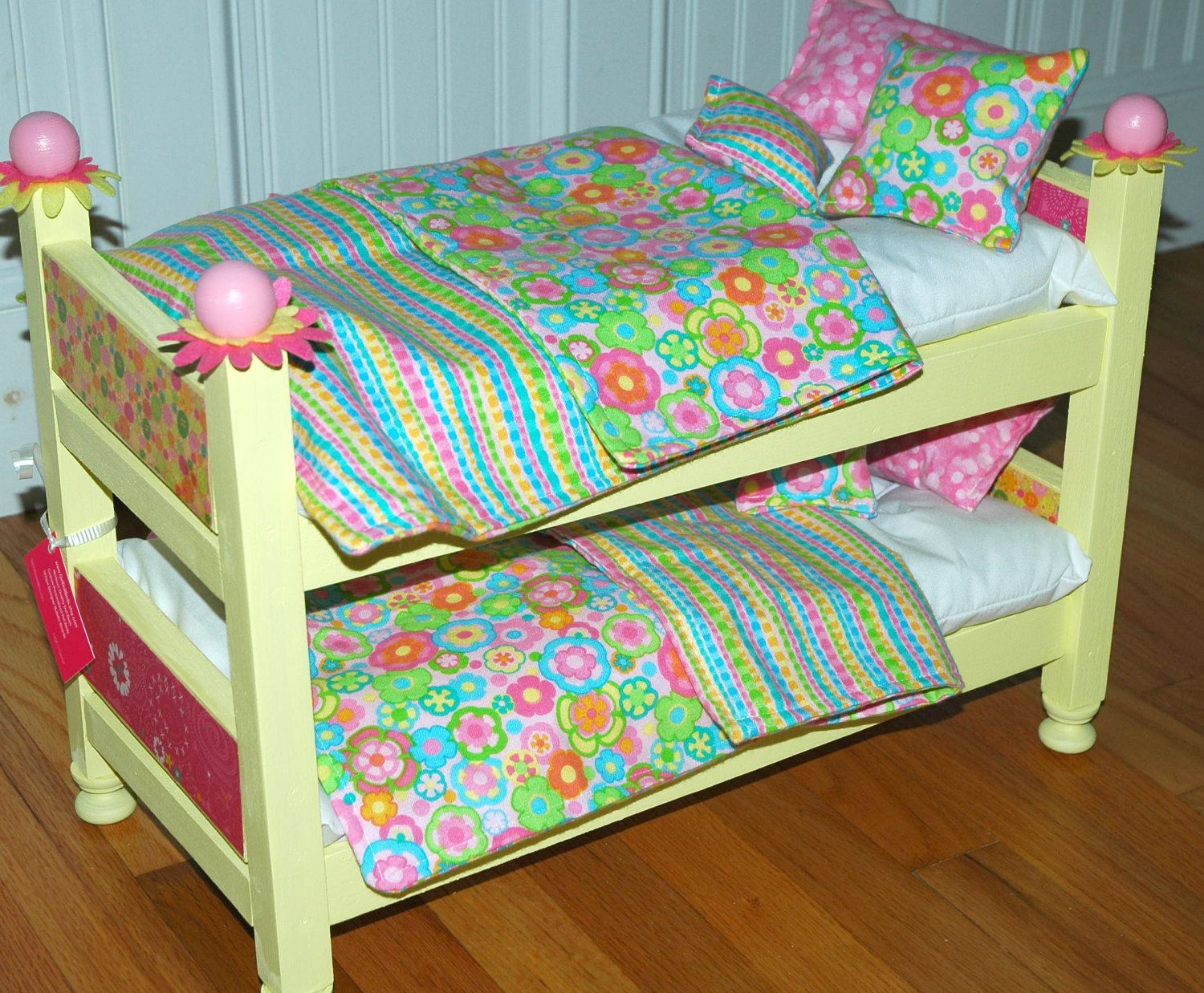 american girl doll bed - sunny yellow doll bunk bed - fits
