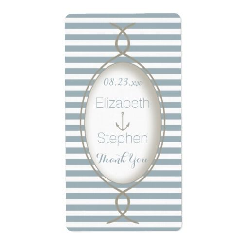 Blue Nautical Striped Monogram Beach Wedding Favor Personalized Shipping Labels