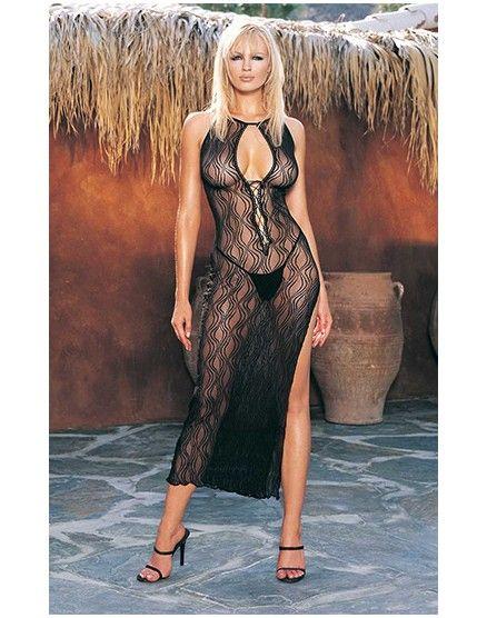 Fantástico vestido largo semitransparente con estampado de remolinos y profundo escote en forma de V con entrelazados. Incluye el tanga a juego. La lencería femenina negra es muy favorecedora para el físico de todas las mujeres.