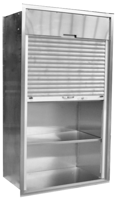 Recessed Operating Room Surgical Storage Cabinet With Roll Top
