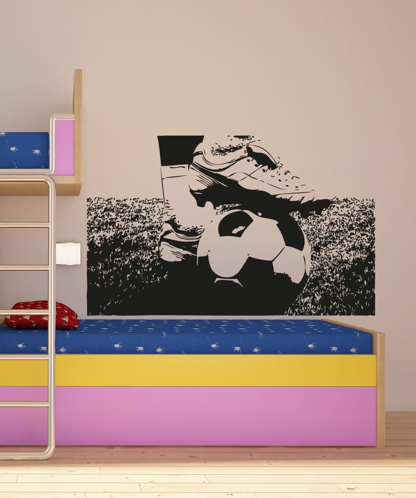 Stacey Kurtz Art For Mural In Boys: Vinyl Wall Decal Sticker Soccer Ball And Cleats #5075 In