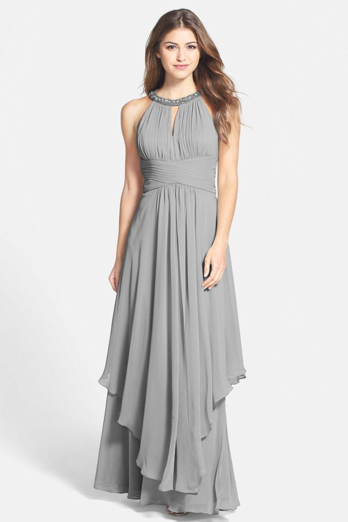 Embellished Tiered Chiffon Halter Gown | wedding dress | Pinterest ...