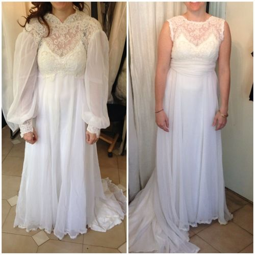 Before (L)/After (R) Bride in her mother\'s wedding dress, updated ...