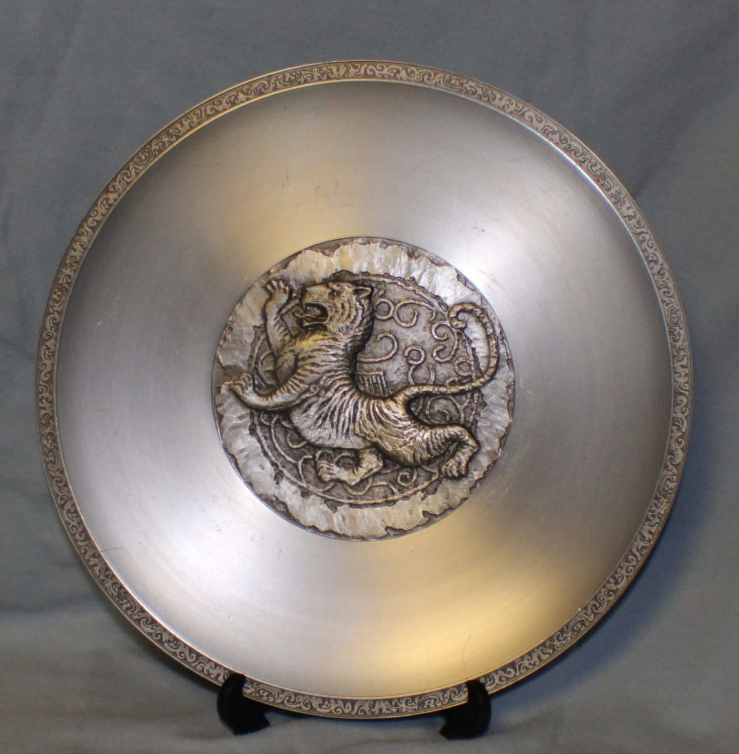 Oriental Chinese Zodiac Selangor Pewter Plate Year Of The Tiger By Chimotreasures On Etsy Year Of The Tiger Pewter Plates Selangor