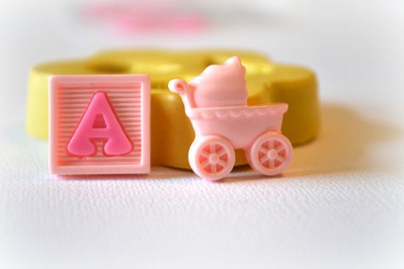 Baby Shower Silicone Molds ~ 0643 baby buggy carriage and alphabet block decoden by mastermolds