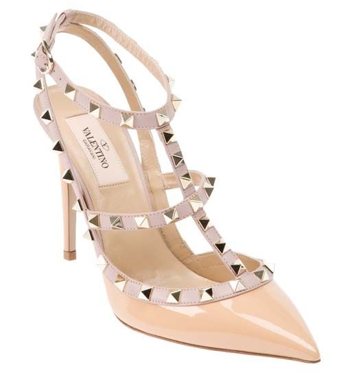 e2e5132d1950 Valentino Rockstud 100mm Nude Patent Leather T-Strap Slingbacks