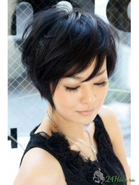Стрижка на средние тёмные волосы