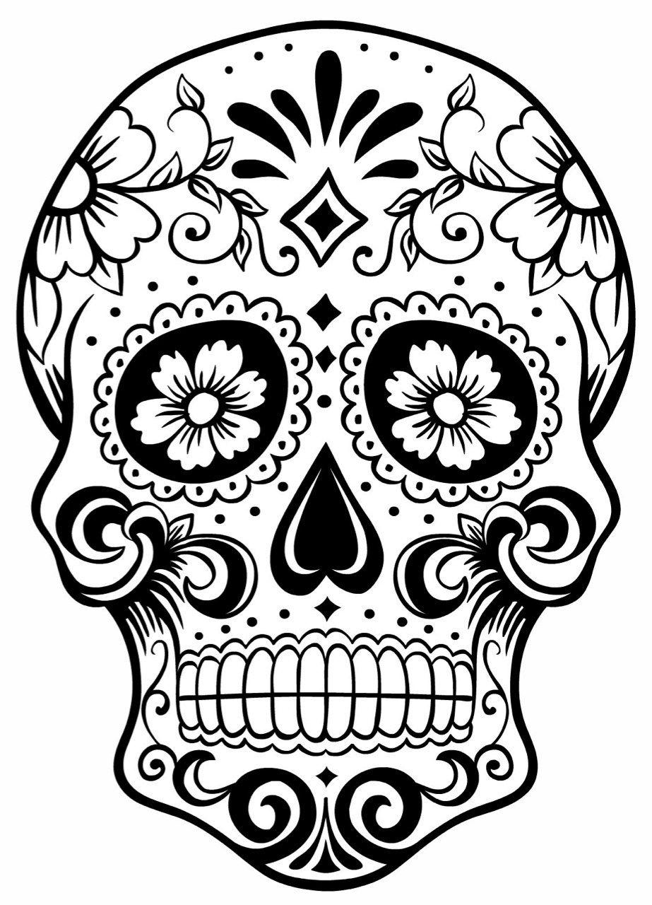 25+ Black And White Sugar Skull Clipart