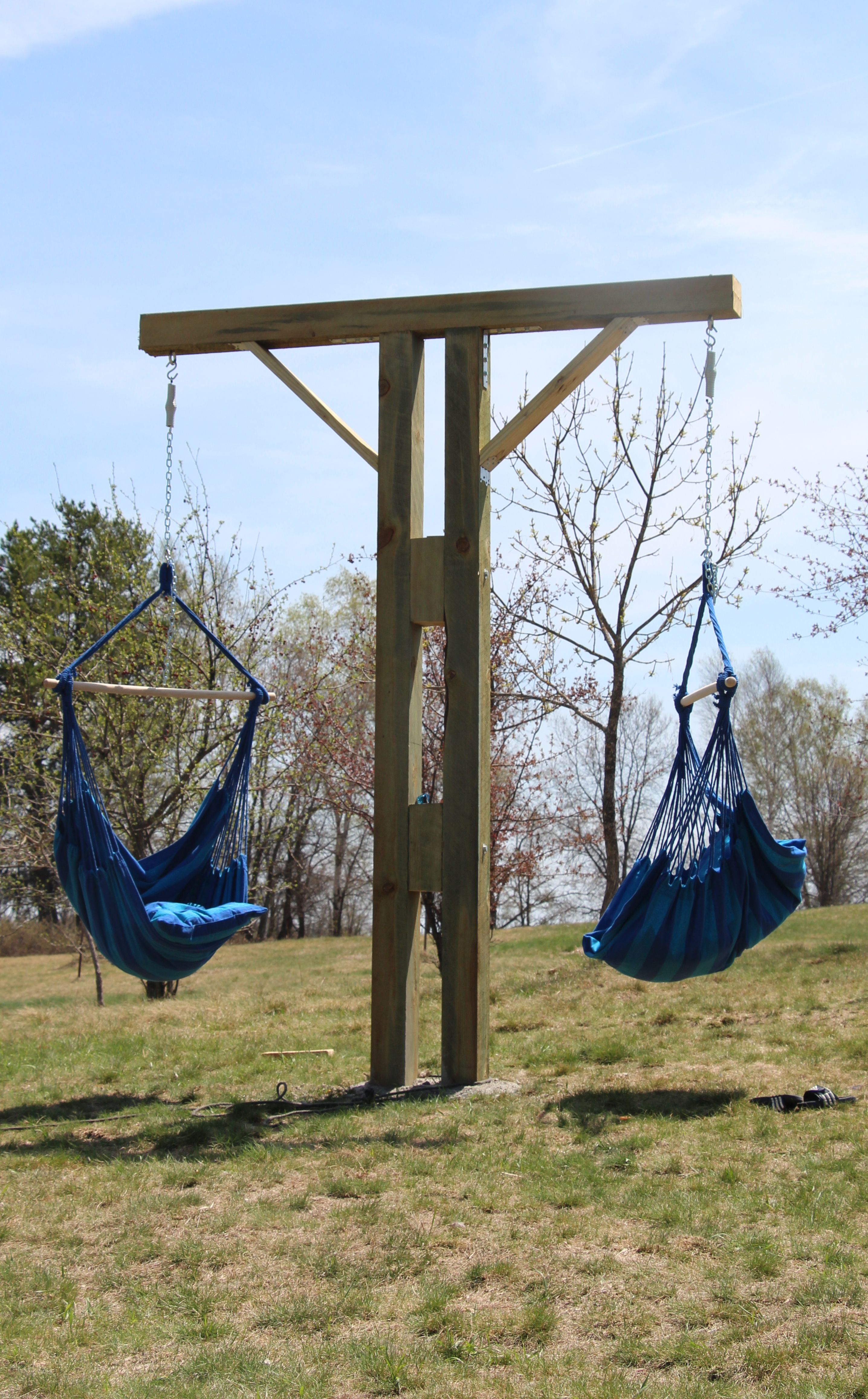 Diy hammock chair stand outdoor spaces pinterest gardens diy