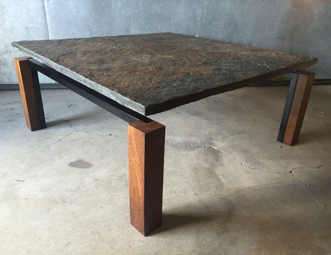 Slate Stone Wenge Wood Black Metal Square Coffee Table 1960s Coffee Table Square Slate Stone Wenge Wood [ 1000 x 1296 Pixel ]