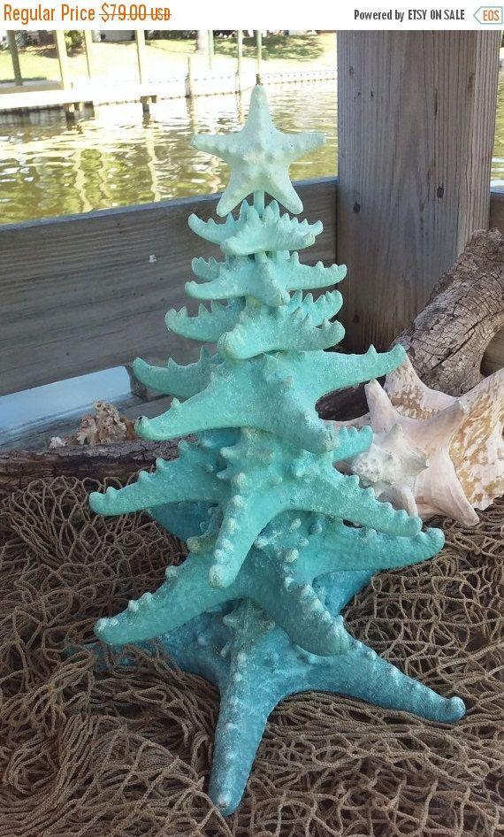 Sale Glittery Ombre Starfish Tree Blue By Seashellsbyseashore