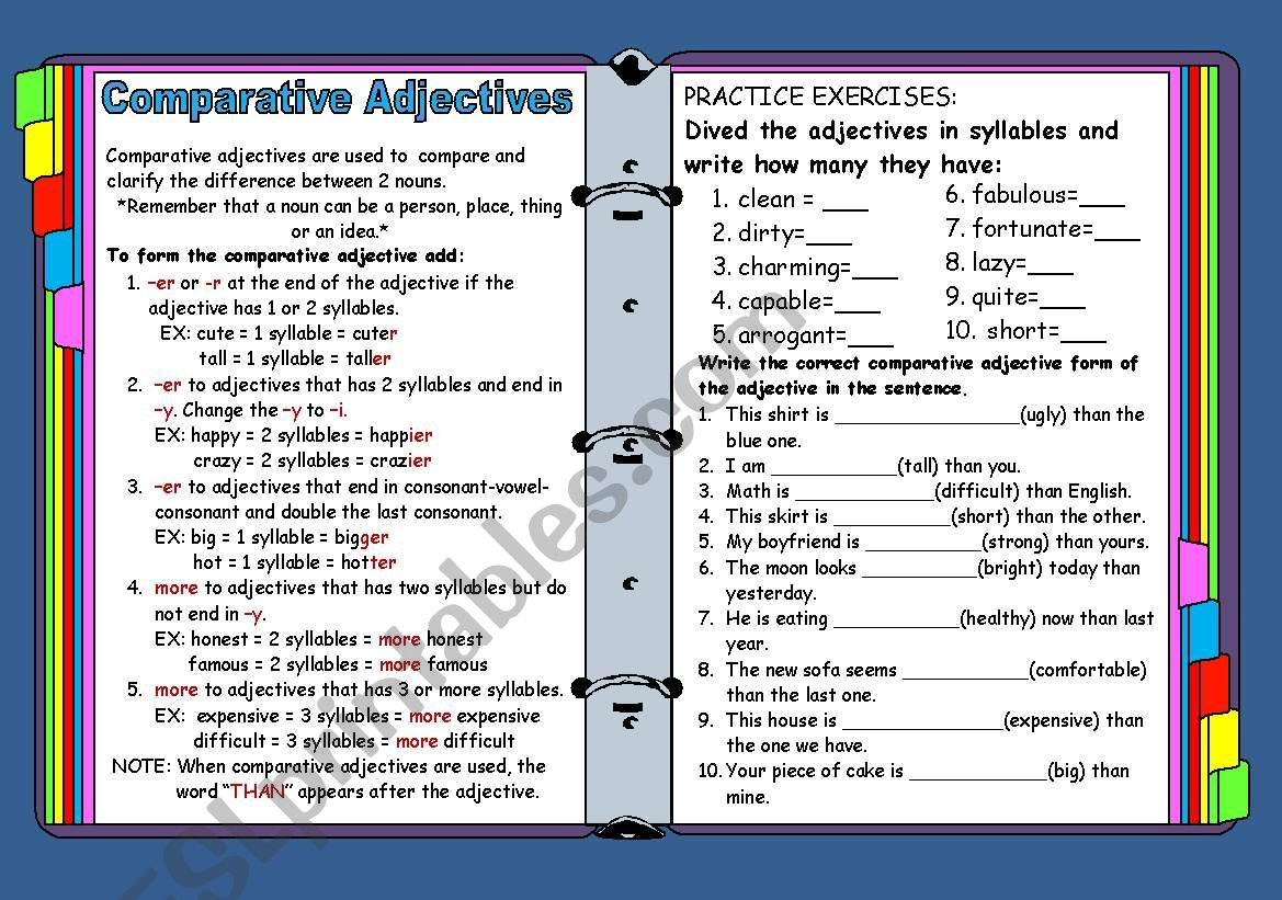 Practice Comparative Adjectives And Syllable Divition