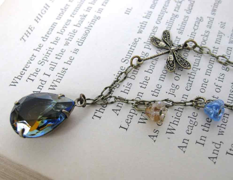 Blue Dragonfly Vintage Sapphire Rhinestone Necklace