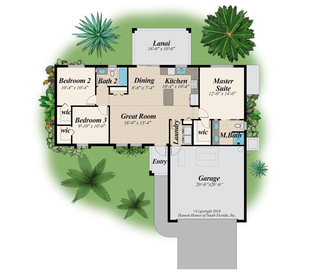 The Bayshore Home Plan 4 Bedroom 2 Bath 2 Car Garage 1 144 Sq Ft Living Space House Plans Living Spaces Car Garage