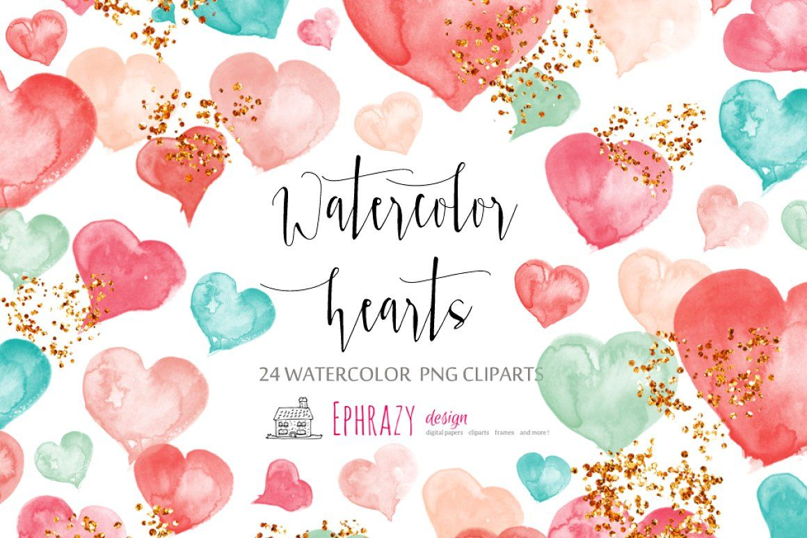 Watercolor Hearts Clipart Watercolor Heart Valentines Day