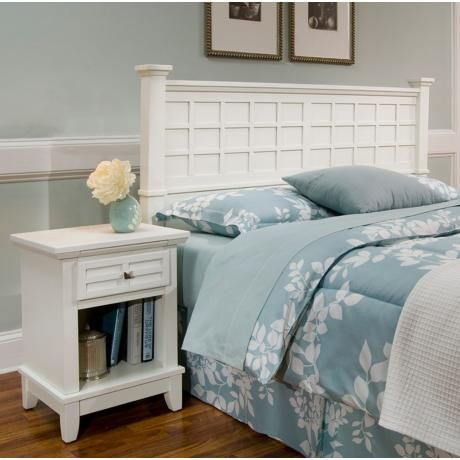 Arts and Crafts White Queen Headboard and Night Stand Set