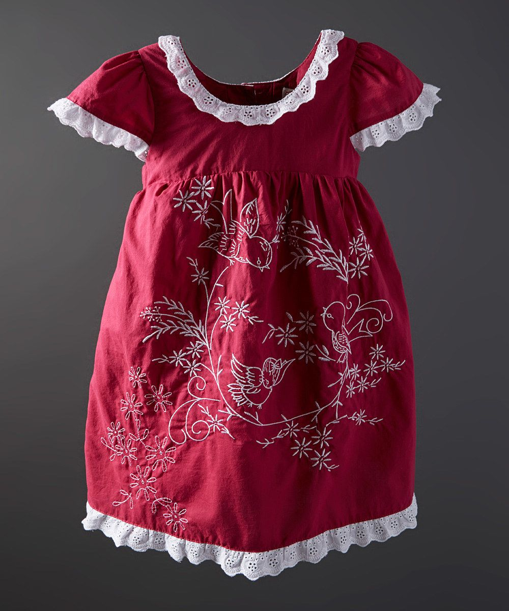 Look at this Maroon Bird Embroidered Dress - Infant, Toddler & Girls on #zulily today!
