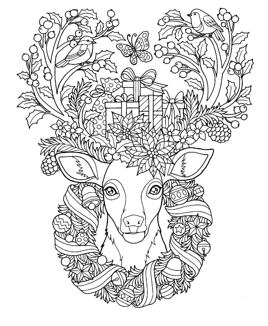 Christmas Reindeer Coloring Page Deer Coloring Pages Coloring Pages Fall Coloring Pages