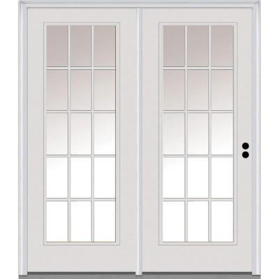 Mmi Door 75 In X 81 75 In Clear Glass Fiberglass Prehung Left Hand Inswing 15 Lite External Grilles Stationary Patio Door Z001595l Hinged Patio Doors Exterior Patio Doors Patio Doors