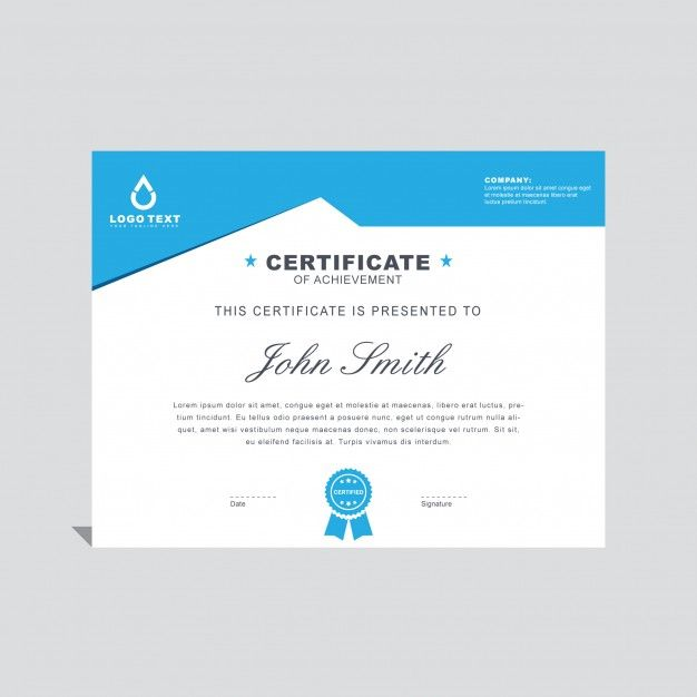 Blue minimal certificate template Free Vector Awards Ceremony - certificate designs templates