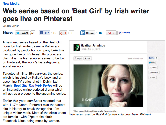 Web series #BeatGirl goes live on Pinterest | Silicon