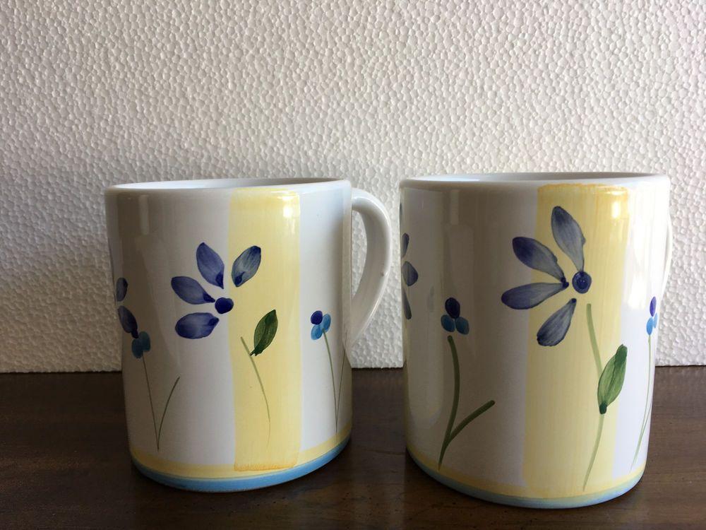 Two 2 Caleca Zafferano Mugs Blue Floral W Yellow Stripes New Italy Htf Caleca Italian Mugs Glassware Entertaining