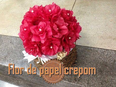 Como fazer   Flor de papel crepom - DECORAÇÃO - YouTube  e7ffde83c48