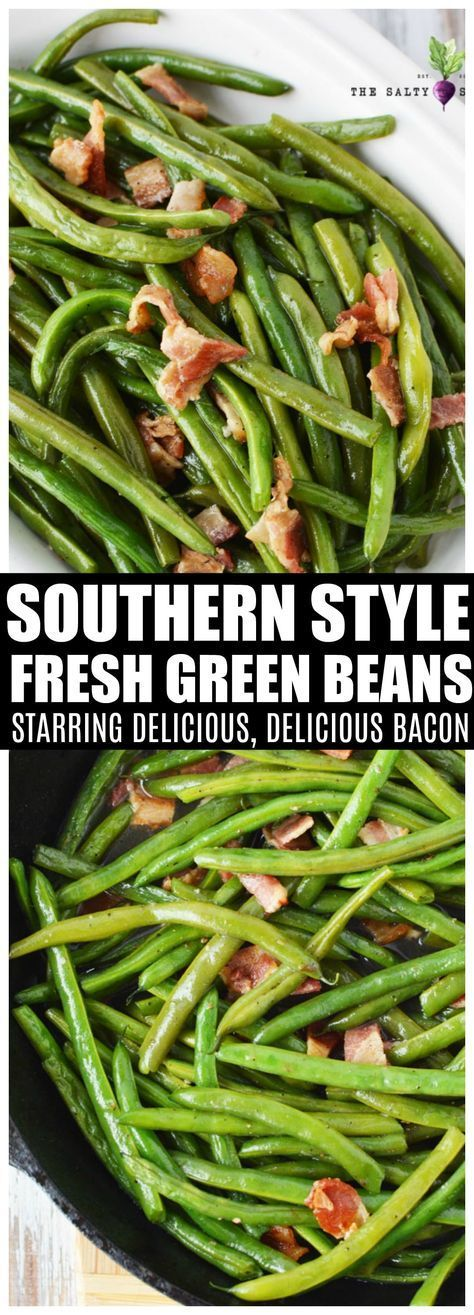 Southern Style Green Beans | Salty Side Dish Southern Style Green Beans with fresh green beans and