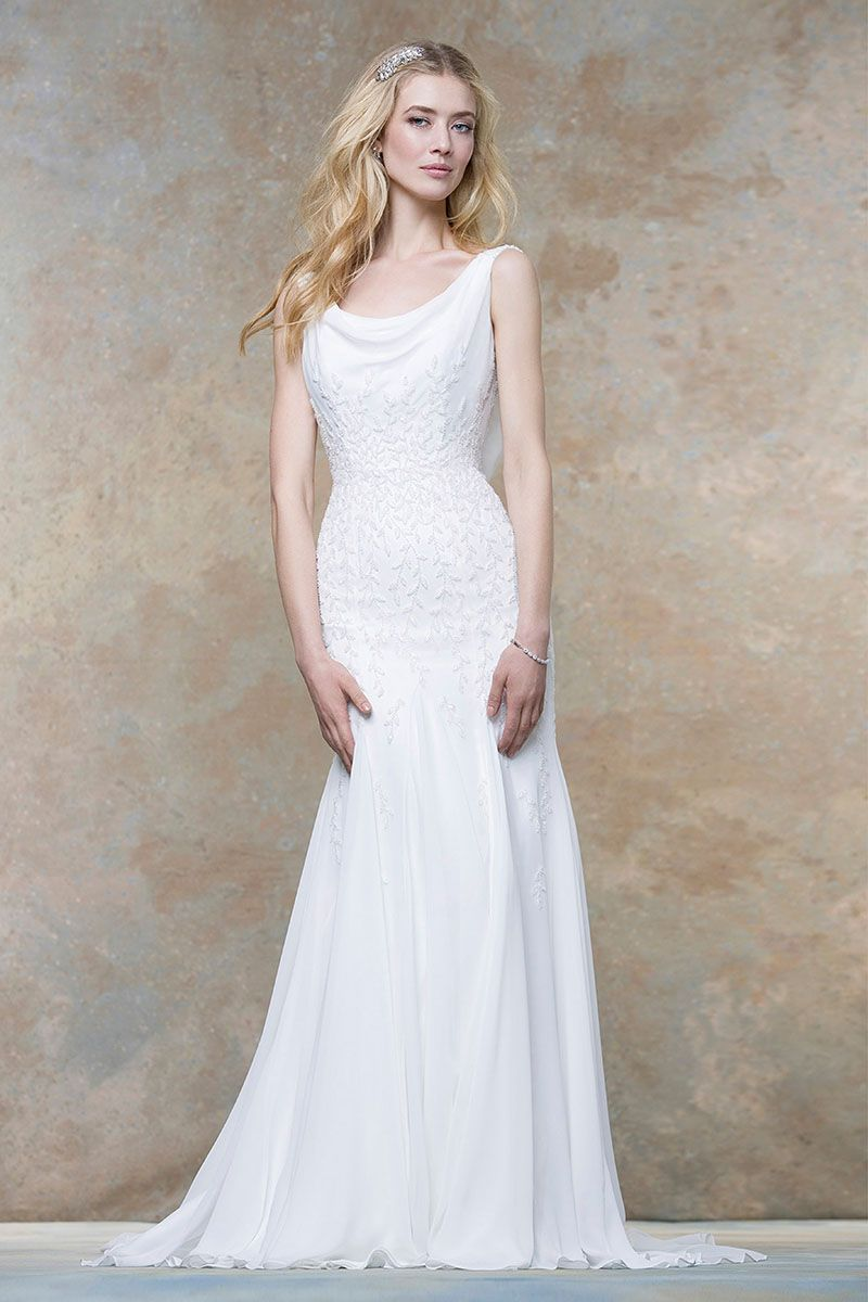 ivory leaves pattern decorated sleeveless fit and flare long chiffon wedding dress cowl back