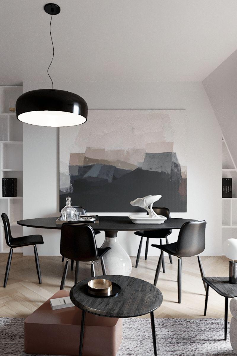 Salle A Manger Avec Table Et Chaises Noires Eames Dans Un Style
