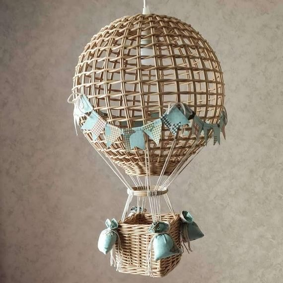 Night light hot air balloon wicker lampshade for adventure | Etsy
