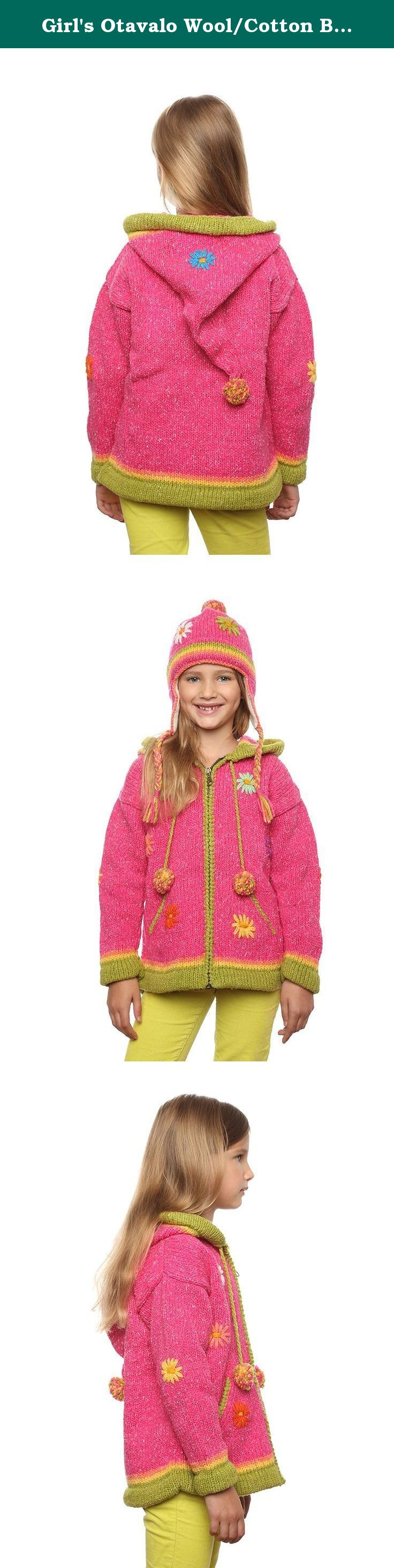 "Girl's Otavalo Wool/Cotton Blend Hand-Knit ""Pink Flower"" Hooded Cardigan Sweater 2-3 Year Old. Washing Instructions: •Machine Wash in cold water, delicate cycle. Lay flat to dry. Do not put your sweater in the dryer. Turn embroidered sweaters inside out before washing. You can also dry clean your sweater. The Indigenous Markets of Otavalo Otavalo, Ecuador is the place where we started in business more than 25 years ago, and my guess is that with people this creative and dynamic, we'll be..."