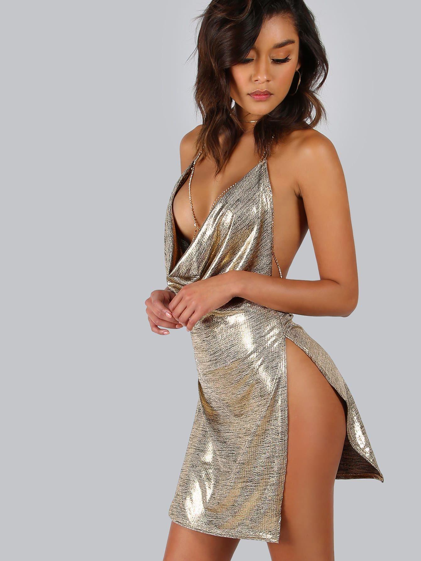 Backless Metallic Plunge Cowl Slit Dress -SheIn(Sheinside) e4e13eb29b9e