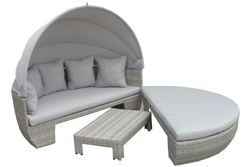 Cocoon le lit de d tente rond et modulable en r sine tress e avec pare soleil int gr - Lit de jardin avec pare soleil ...
