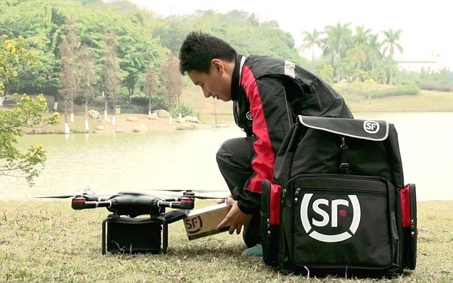 China SF Express Mail delivery drone having a parcel loaded