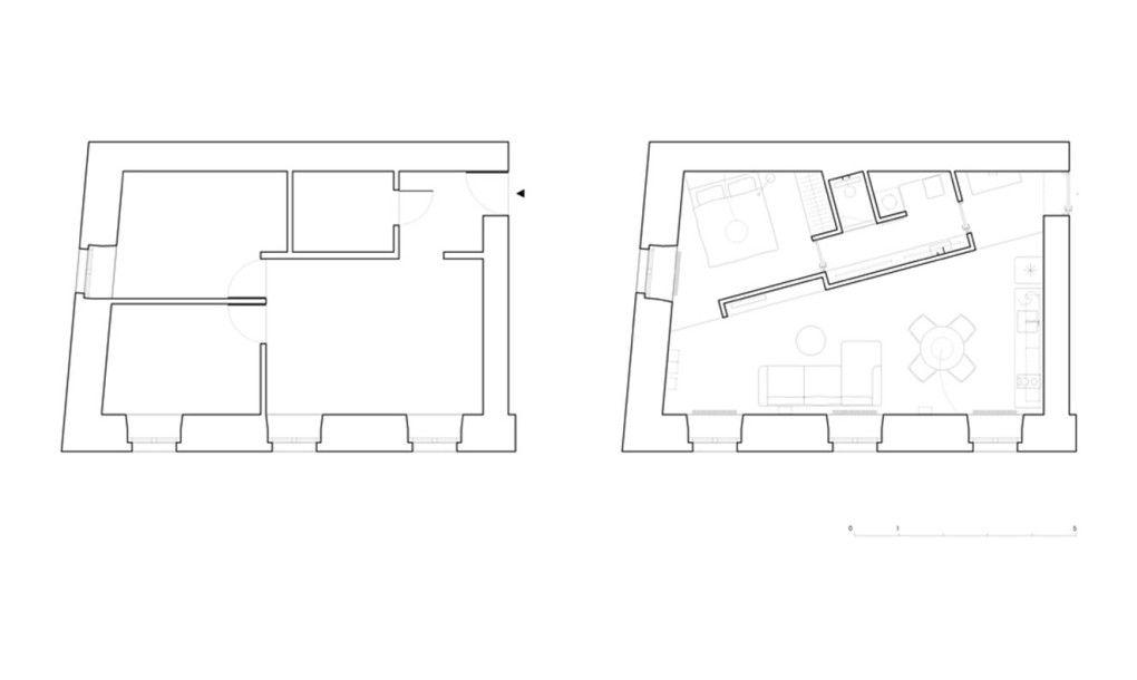 Tiny Lithuania apartment boasts a space-saving split ...