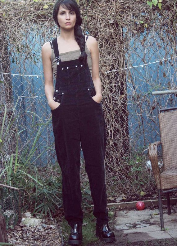 7147f82dfdb Womens 90s Black Corduroy Grunge BIB OVERALLS   Corduroy Overalls   OVERALL  Pants   JUmpsuit