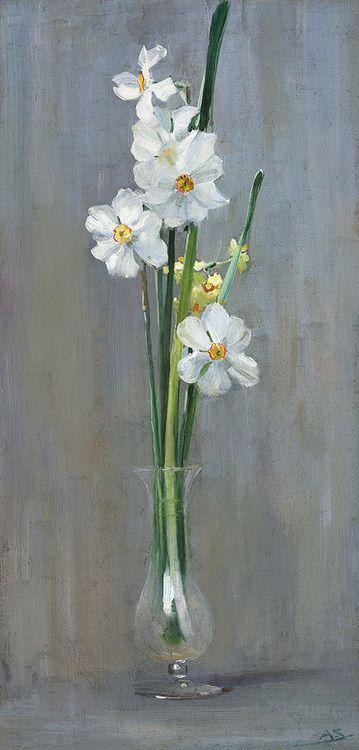 blastedheath:  simena Arthur Streeton (Australian, 1867-1943), Narcissi. Oil on canvas, 49.5 x 24cm.