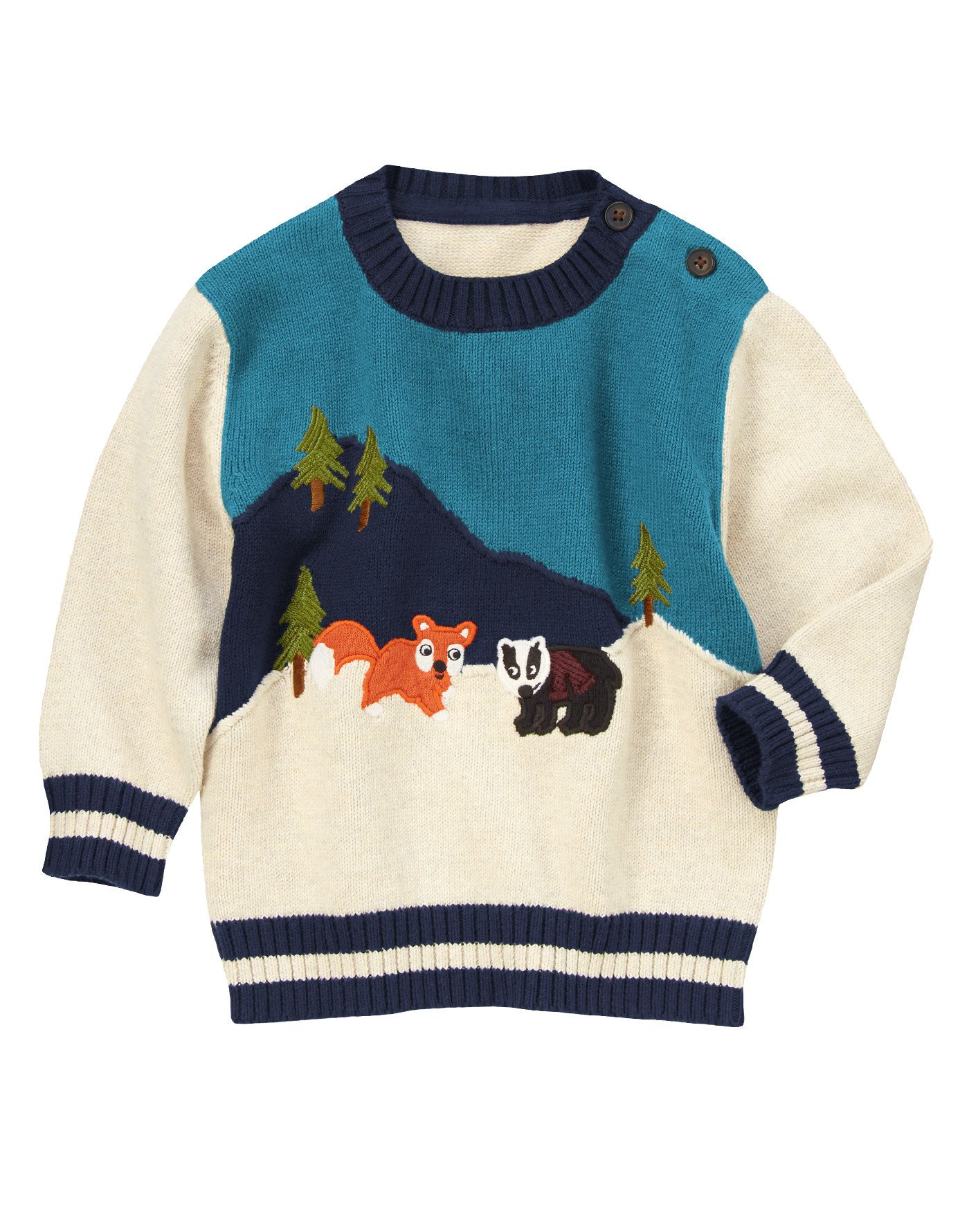 Fox and badger buddies add outdoorsy style to our cozy sweater ...