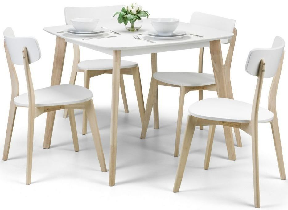 Julian Bowen Casa Square Dining Table And 4 Chairs White And Oak Square Dining Tables 4 Seater Dining Table Oak Dining Chairs