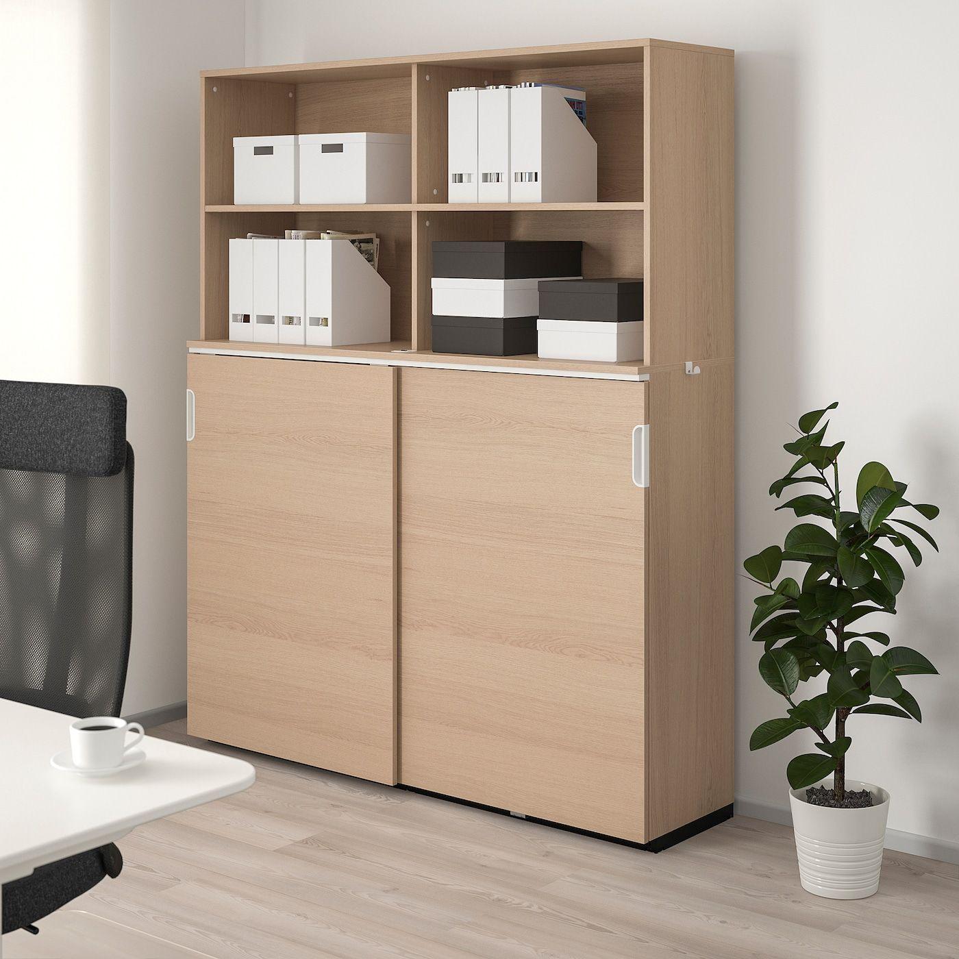 IKEA GALANT Aufbewahrung mit Schiebetüren – Eichenfurnier we…