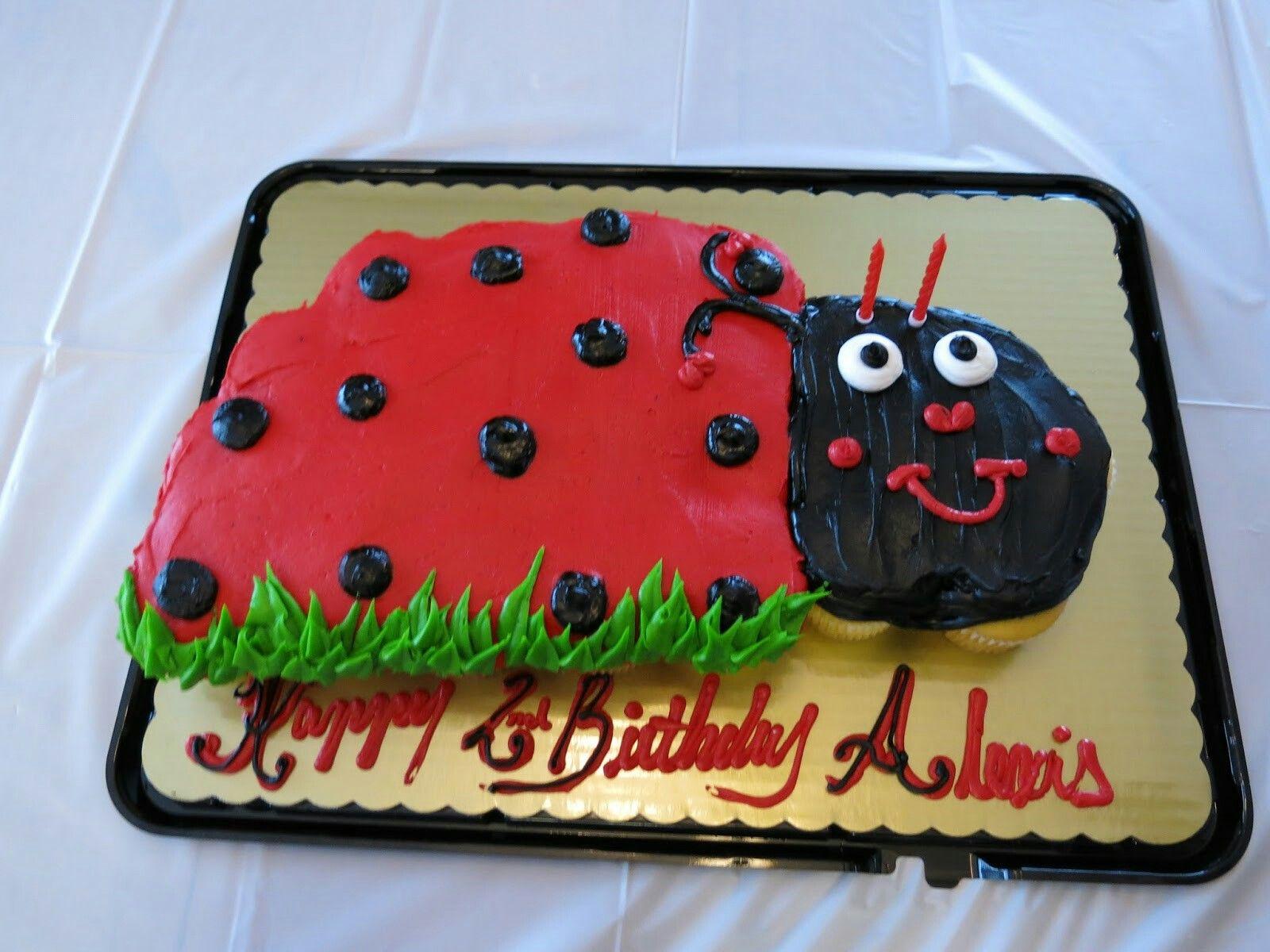 Ladybug birthday cupcake cake from Kroger Ladybug
